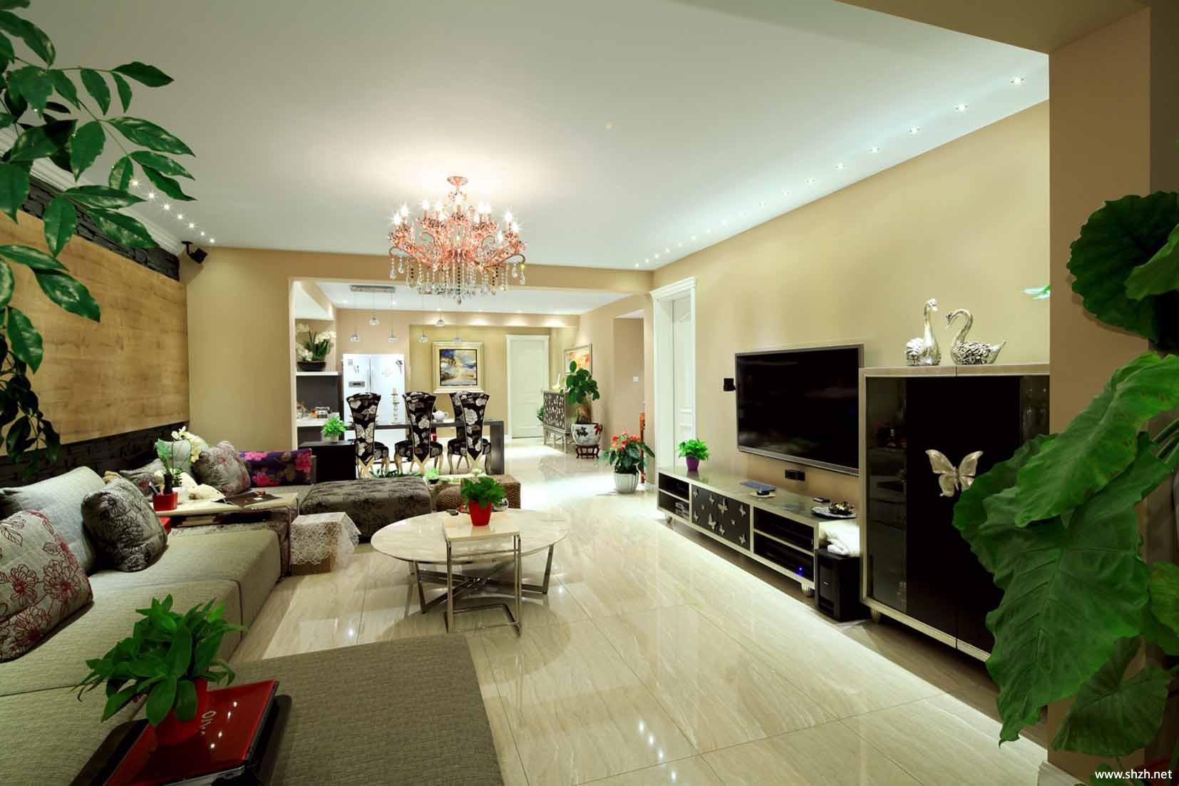 中式中户型客厅沙发茶几