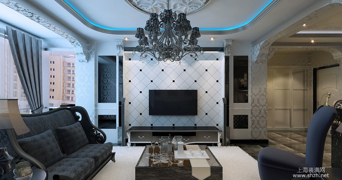 新中式风格电视背景墙-上海装潢网