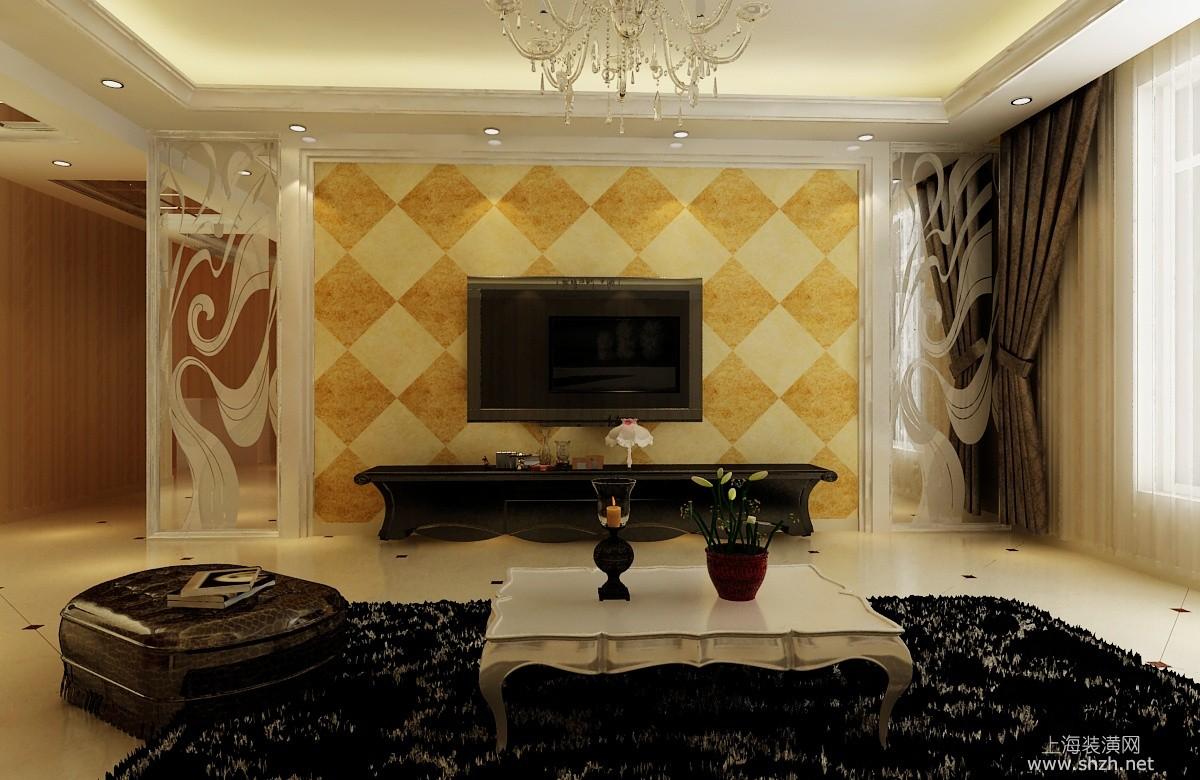 欧式简约风格电视背景墙-上海装潢网