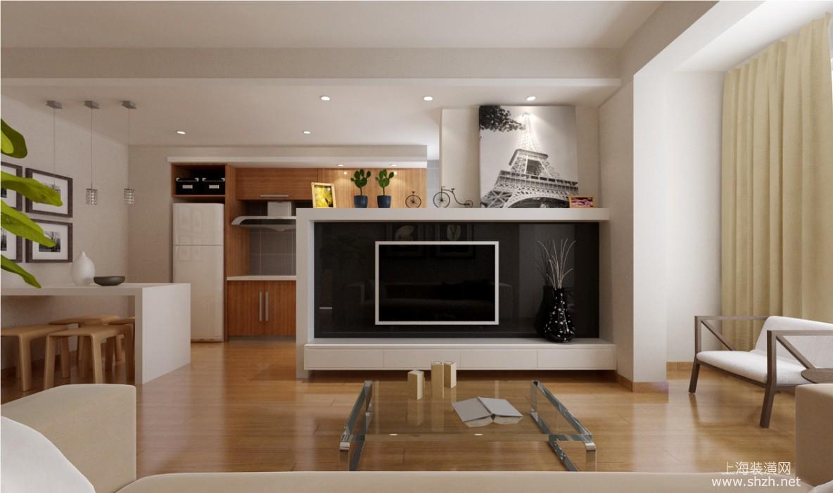 長方形半高隔斷式客廳電視背景墻,裝修效果凸顯的液晶電視寬大自然
