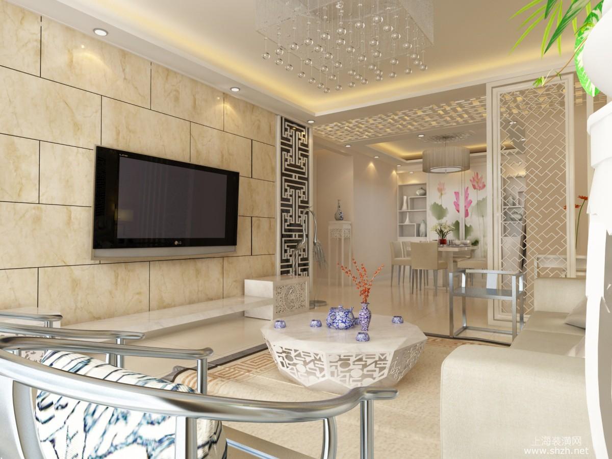 中式客厅的设计,乳白色的大理石电视背景墙效果