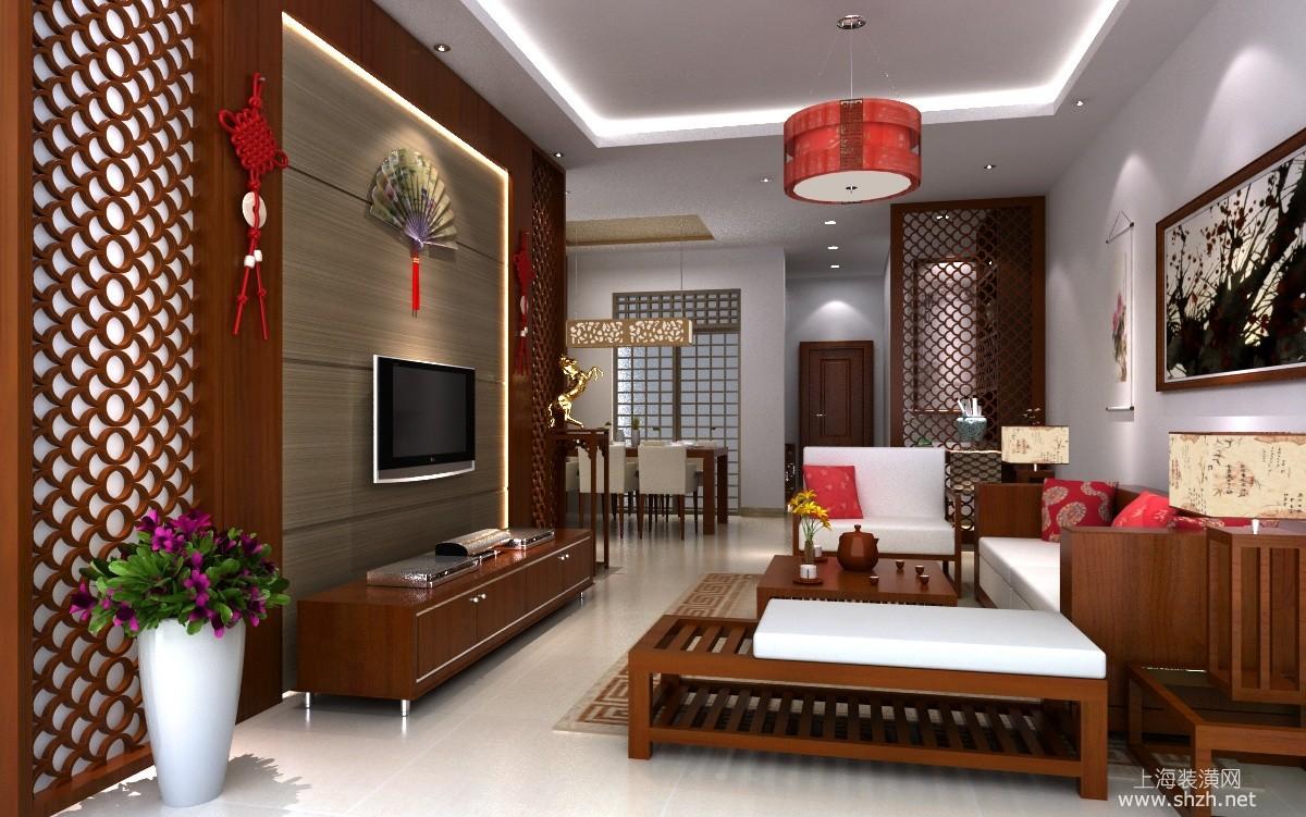 中式风格电视背景墙-上海装潢网