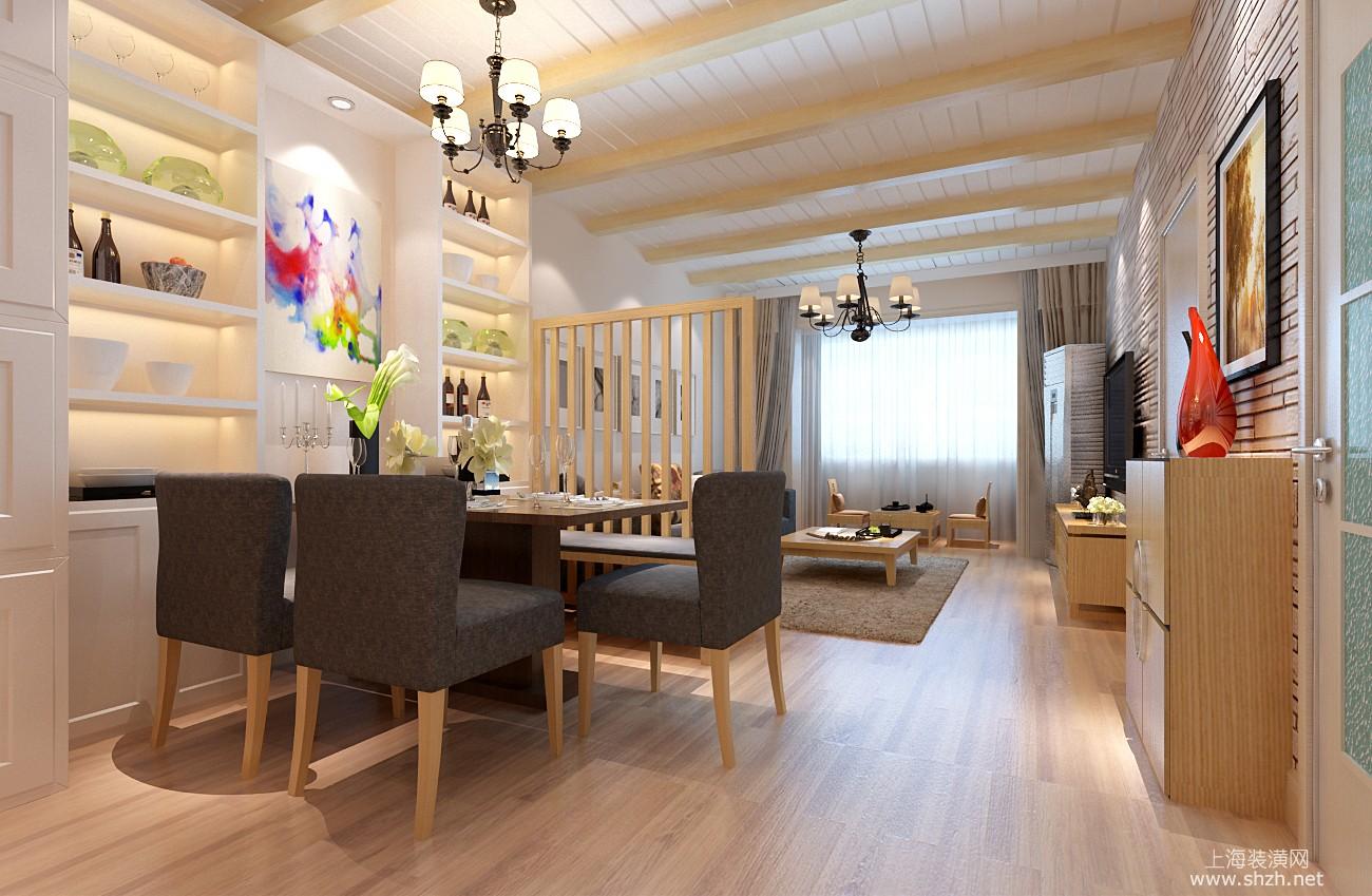 90平现代风格餐厅与客厅隔断设计效果图