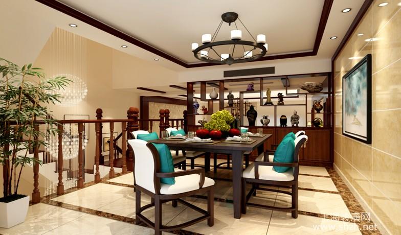 240平现代中式别墅设计餐厅效果图-上海装潢网