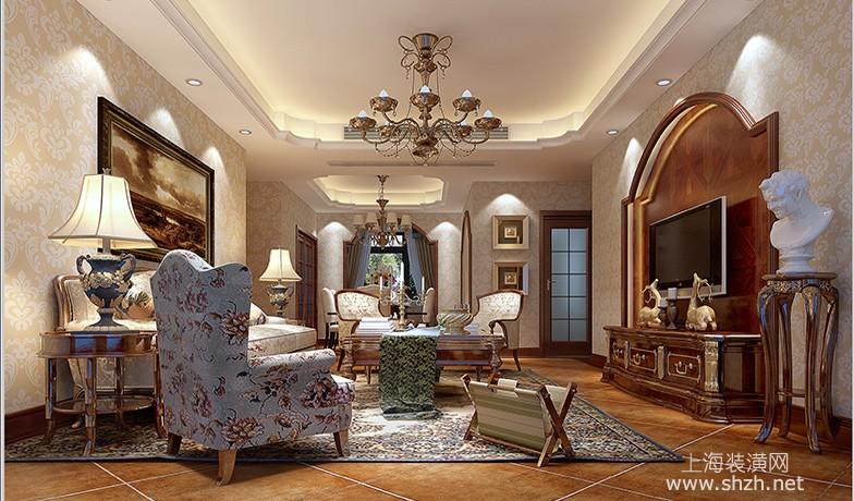 140平美式风格客厅设计效果图欣赏
