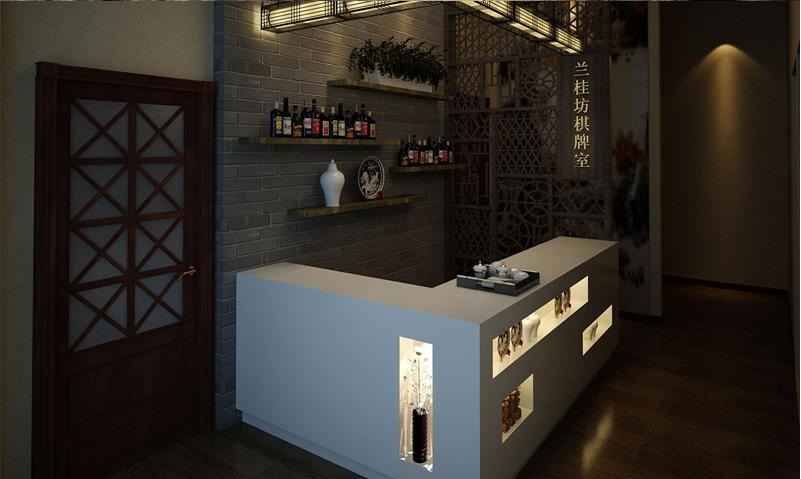 棋牌室--前台服务台设计装修效果图