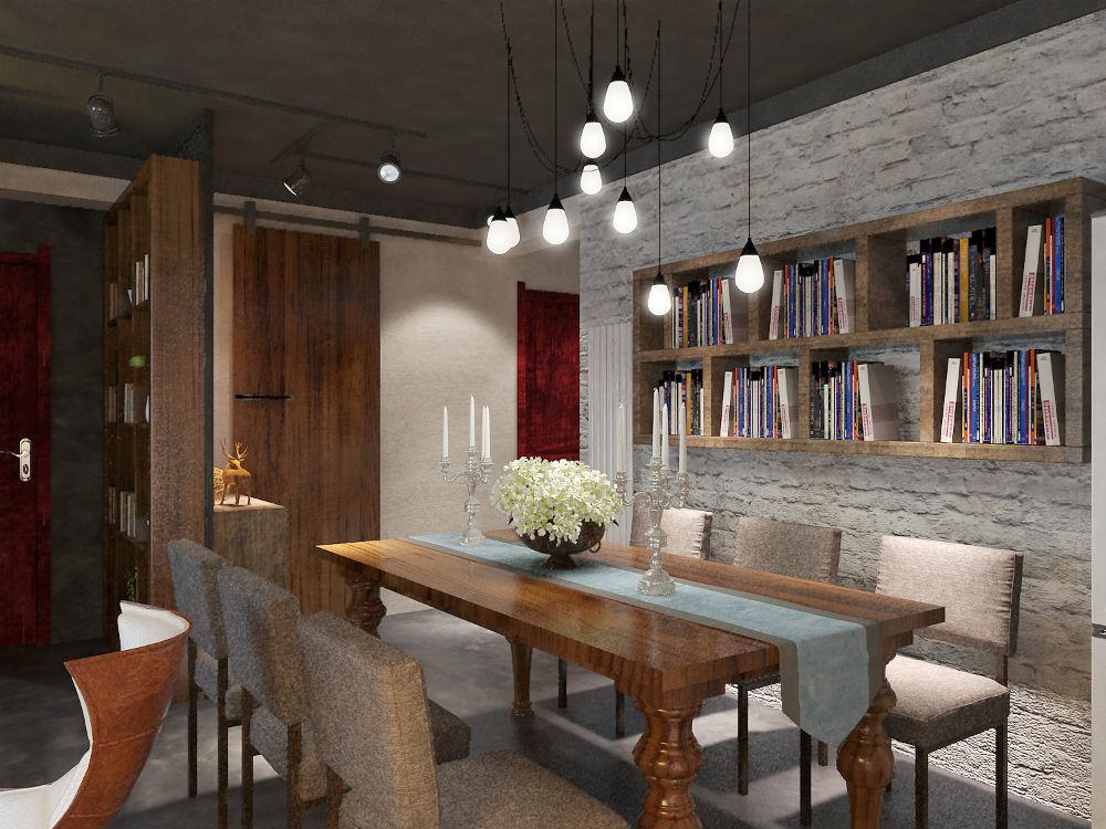 时尚工业风打造个性家居餐厅兼书房