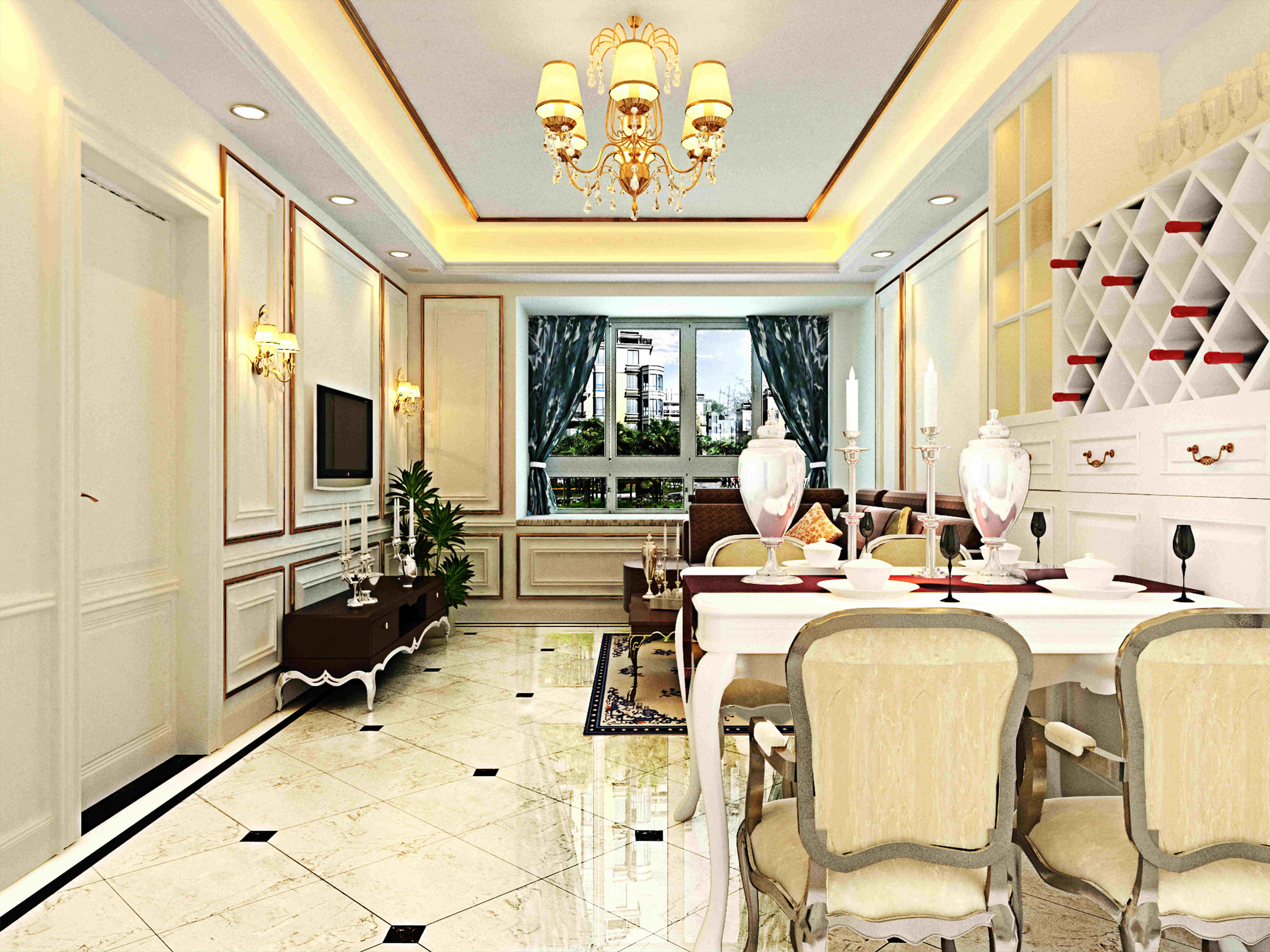 客厅效果图,整体风格为欧式风格,墙面以护墙板为主,地面用爵士白和