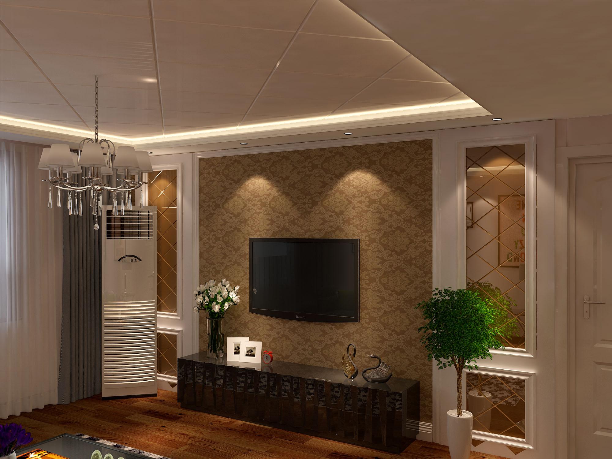 电视墙上两边是用茶色菱形玻璃拼成的,外边木工已经做了边框.