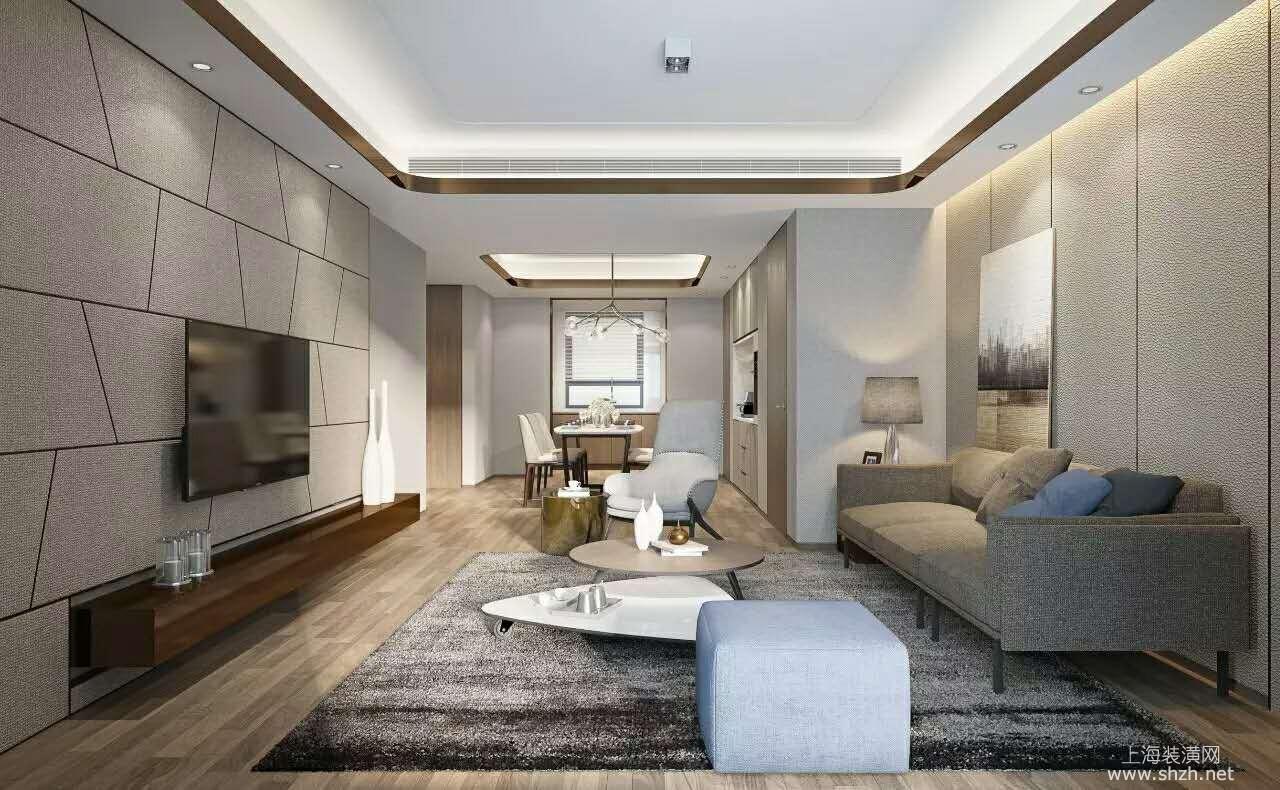 电视背景墙用不规则的壁纸来装饰,沙发背景墙用条形的壁纸来装饰,整个