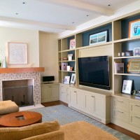 美式简约小户型客厅电视柜书架/书柜效果图