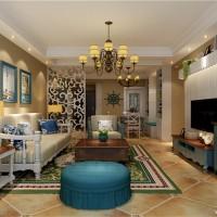 68平地中海风格客厅装修效果图