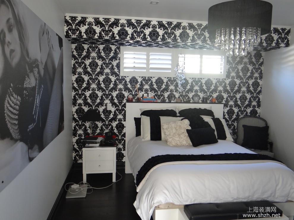 黑白撞色卧室现代装修效果图