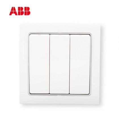 瑞士ABB 开关插座 德宁三开单控开关 三位单控开关AN103